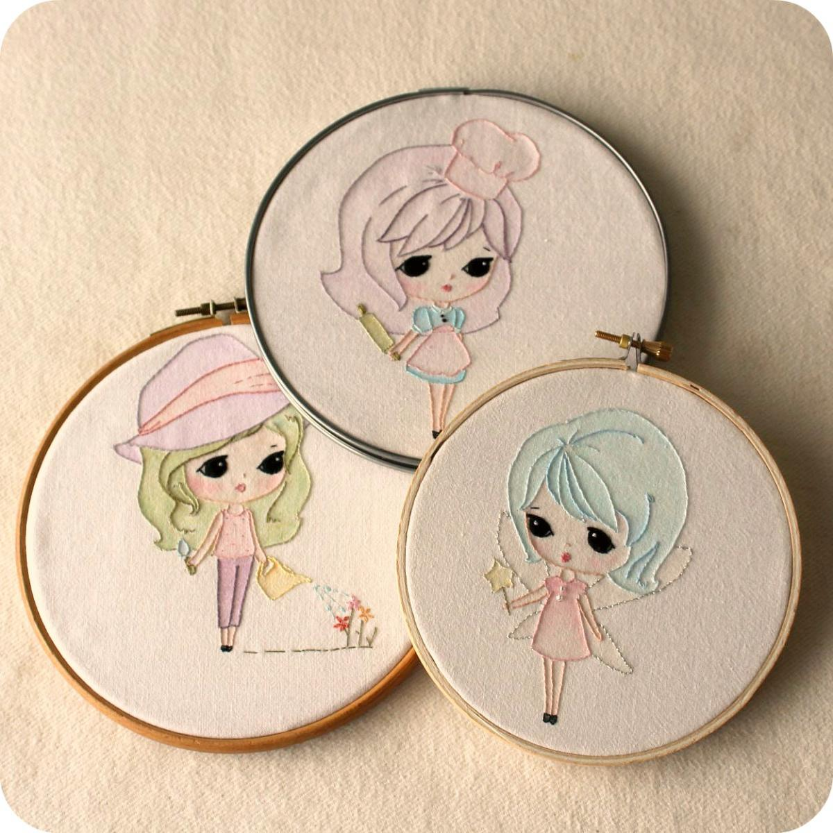 Set of Three Embroidery pdf Patterns - Fairy, Baker and Garden Girl