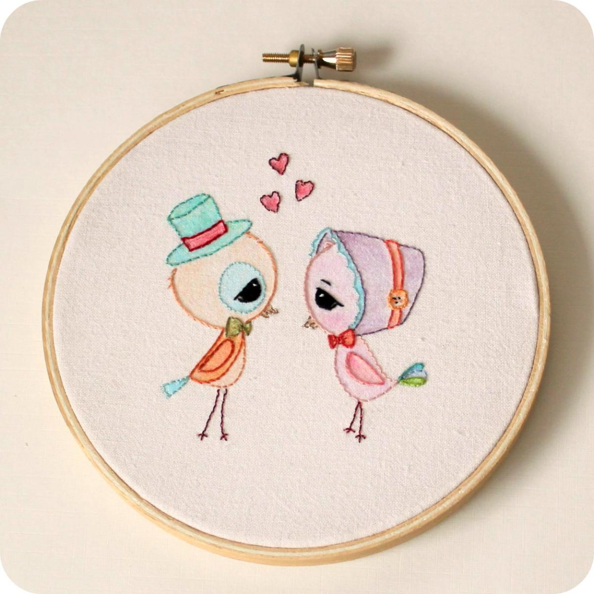 Embroidered Love Birds pdf Pattern